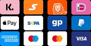 Kreditkarte, Kauf auf Rechnung, PayPal, ideal, Sofortüberweisung, Apple Pay und viele mehr